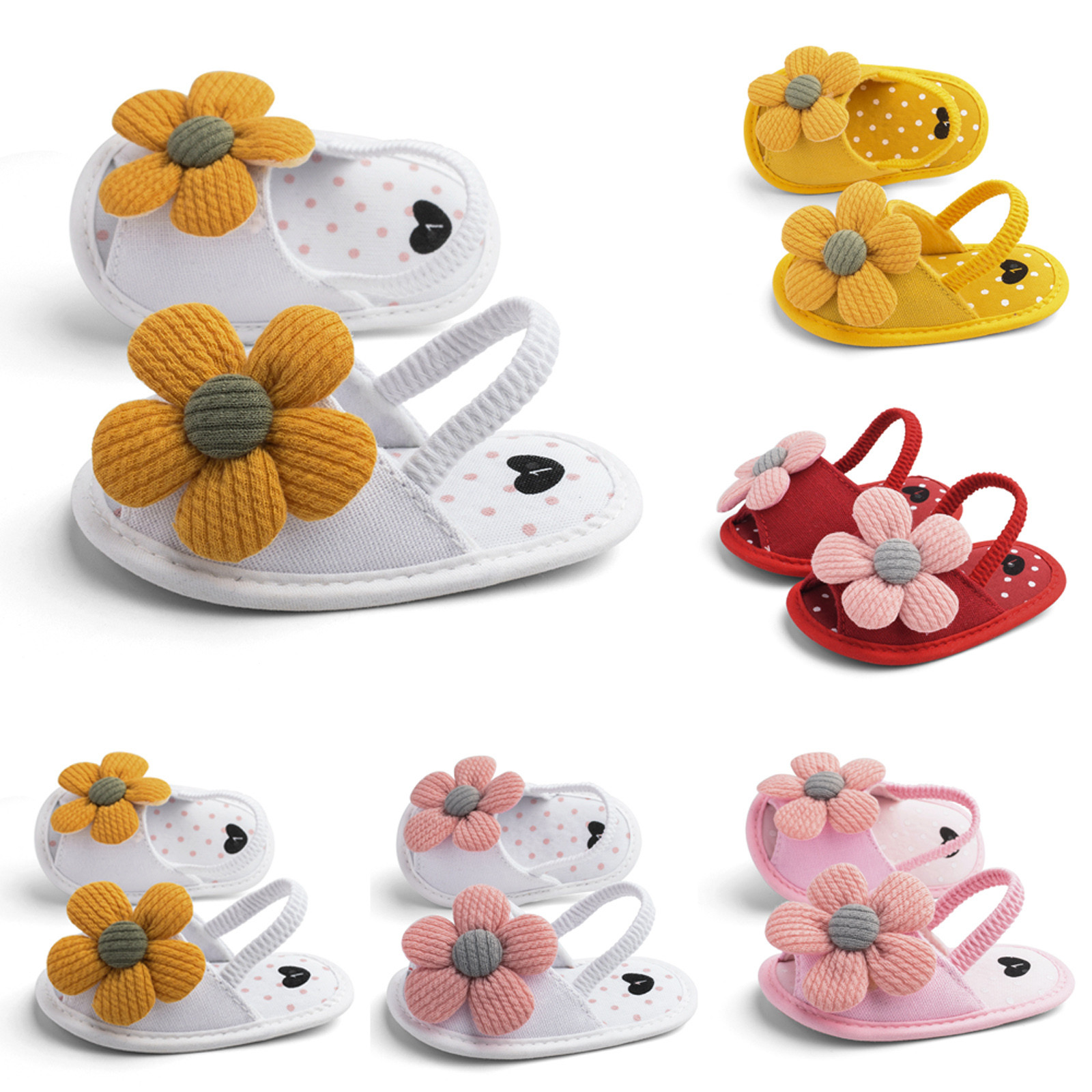 2021 Baby Girls Bow Knot Sandals Children's Leisure Sun Flower Baby Sandals Soft Sole Baby Toddler Shoes First Walkers Shoes