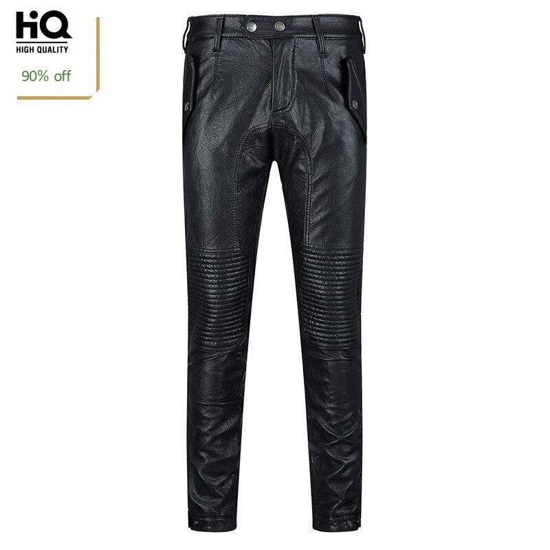 Autumn 2020 New Korean Fashion Sheepskin Leather Mens Pants Straight Slim Biker Long Trouser Streetwear High Quality Pant Man