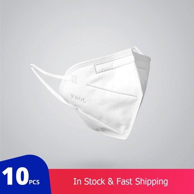 10 個 KN95 防塵防曇と通気性のフェイスマスクろ過口マスク 3 層口マッフルカバー (ない医療用)