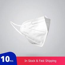 10 adet KN95 toz geçirmez anti sis ve nefes alabilen yüz maskeleri filtrasyon ağız maskeleri 3 katmanlı ağız Muffle kapak (Tıbbi kullanım için)