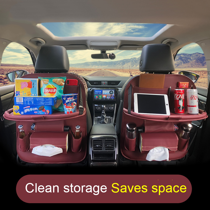 Кожаная сумка на заднее сиденье автомобиля с поддоном, органайзер на заднее сиденье автомобиля, сумка для багажника, многофункциональная сумка для хранения сидений