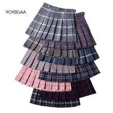 Женская плиссированная юбка А силуэта с высокой талией клетчатые