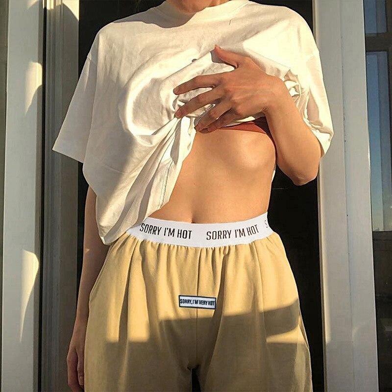 NCLAGEN Letter Print Sweatpants Casual Patchwork Joggers Women Pants Atheleisure Sweat Pant Loose Harem Capris Woman Trousers