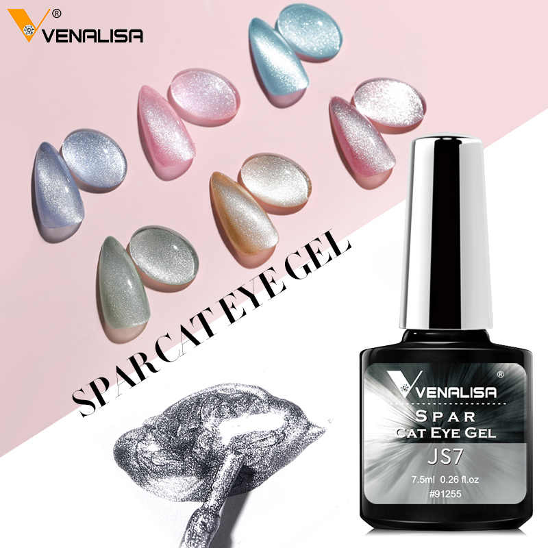 Venalisa Transparan Gel Polandia Pernis Hybrid Kuku Manicure 7.5 Ml Ice Storm Mata Kucing Rendam Off Enamel Uv Gel cat Kuku