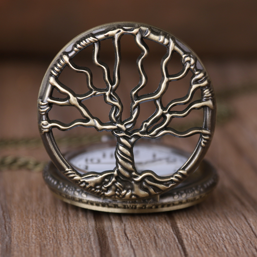 Vintage Quartz Pocket Classical Bronze Tree Of Life Watch Pendant Necklace Men Women Watch Fob Chain Children Gift Drop Shipping