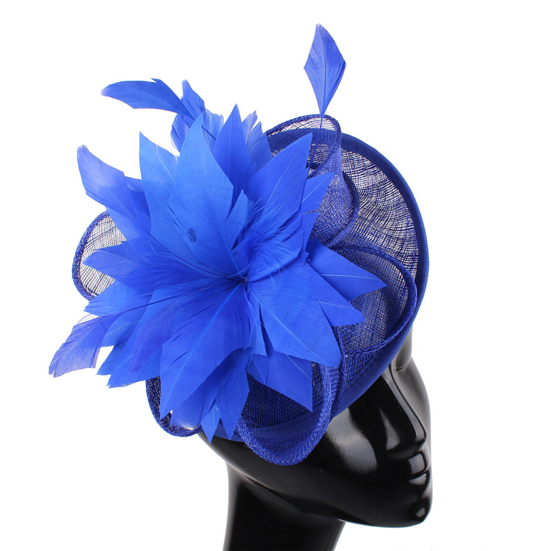 Royal Blue Sinamay Wedding Fascinator Hats Elegant Women Party Tea Headpiece Hair Clip Bridal Fashion Race Derby Hair Accessory