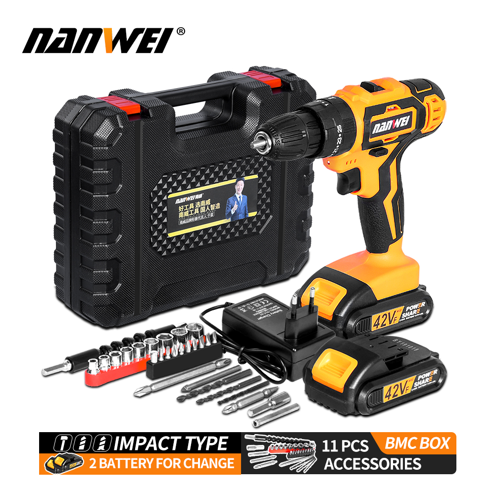 NANWEI <font><b>Electric</b></font> <font><b>Screwdriver</b></font> <font><b>Cordless</b></font> <font><b>Drill</b></font> <font><b>Impact</b></font> <font><b>Drill</b></font> Power Driver 21V 2-Speed image