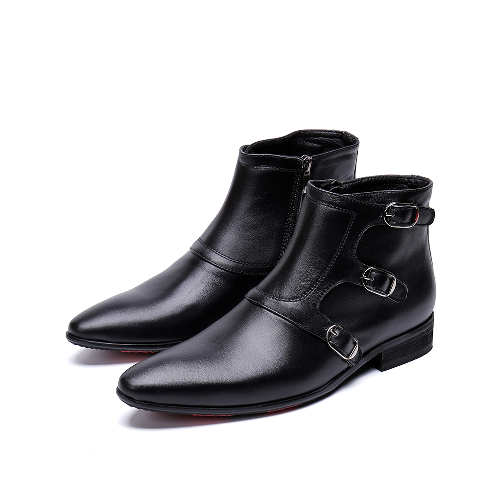 Genuine Leather Zip Three Bullock  Ankle Boots  Fashion High-top Falt Dress Shoes Pointed Toe Martin Boots Big Size 46