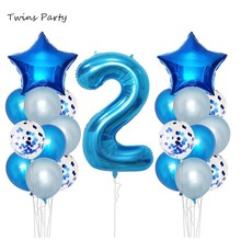 Twins 2nd Birthday Party Decoration Blue Pink Confetti Balloons Happy 2 Years Decor Year Old Kids Two