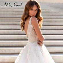 אשלי קרול אונליין חתונה שמלות 2020 Vestido דה Noiva חוף הכלה טול סקסי ללא משענת V צוואר שרוולים Boho כלה שמלה