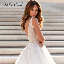 Ashley Carol A Line Wedding Dresses 2020 Vestido De Noiva Beach Bride Tulle Sexy Backless V neck Sleeveless Boho Bridal Gown