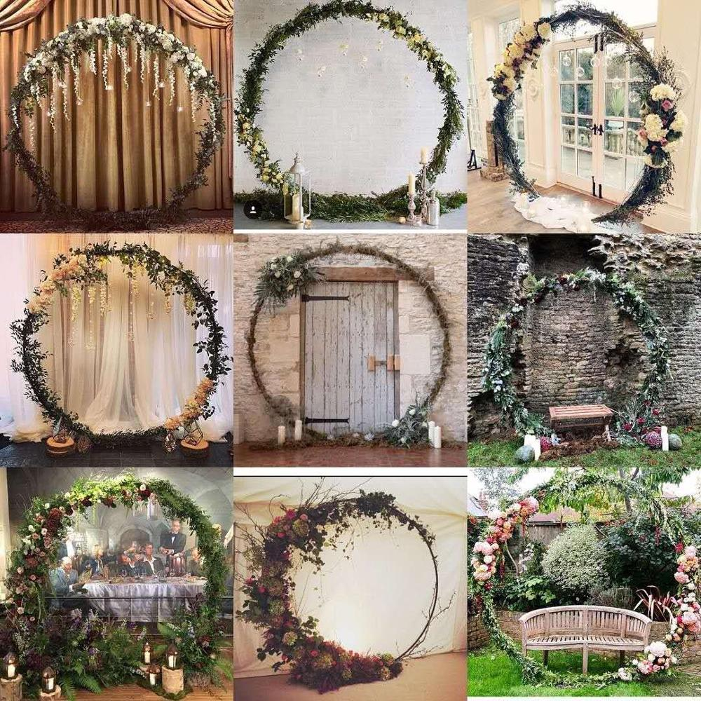 wedding : 6foot  8foot 2 5m big Circle Wedding Birthday Arch Decoration Background Wrought Props Single Arch flower door rack Outdoor Lawn