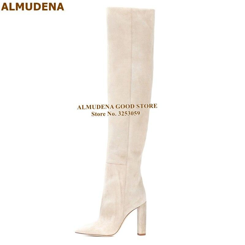 ALMUDENA Cream Color Suede Thigh High