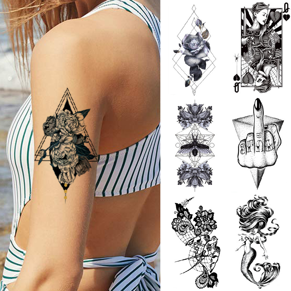 1 Piece Temporary Waterproof Arm Tattoo Flowers Butterfly Animal Watercolor Sexy Fake Tattoos For Woman's Arms, Legs, Body