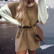 Lazy Loose sweater women Patchwork Autumn Women long sleeve sweater dress Winter Pullovers Jumper Pull Femme or22