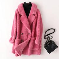 Women Thick Teddy Jacket Vintage Turn Down Collar Fluffy Faux Fur Coat Loose Long Outerwear Woolen Coats