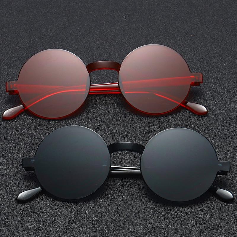 2019 New Frameless One-piece Sunglasses Women Retro Round Glasses Jelly Color Black Eyeglasses