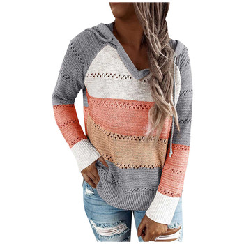 2020 Autumn V Neck Patchwork Hooded Sweater Women Long Sleeve Knitted Sweater Top Winter Striped Elegant Pullover Jumpers Z0826 twist front v neck striped top
