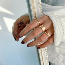 Minimalizm złoty kolor okrągły geometryczny zestaw pierścieni palców dla kobiet 2021 klasyczne koło otwarty pierścień uszczelniający pierścień damska biżuteria tanie tanio CN (pochodzenie) Ze stopu cynku Kobiety Metal Klasyczny Obrączki ślubne ROUND Zgodna ze wszystkimi Poprawiające nastrój