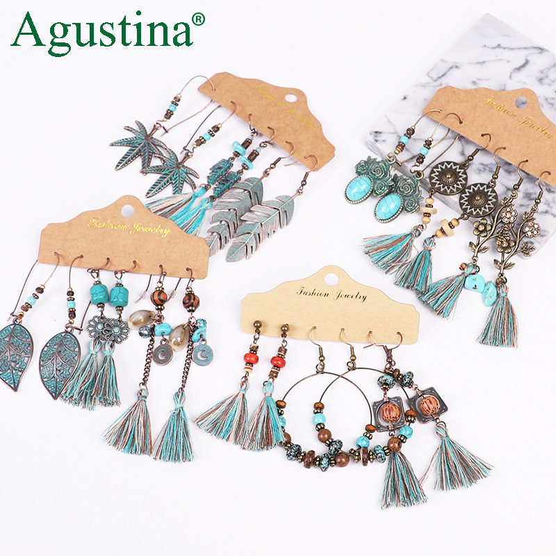 Agustina Earrings Set 2020 New Tassel Earrings Jewelry Boho Women Bohemian Drop Long Earrings Earring Handmade Fringe Statement