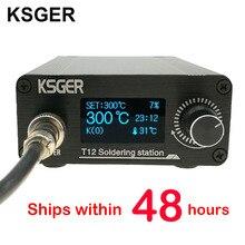 KSGER Estación de soldadura T12 STM32 OLED V2.0, controlador eléctrico Digital, aleación de aluminio, Kits DIY, herramientas de soldadura, puntas de hierro T12