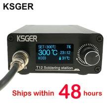KSGER T12 Stazione di Saldatura STM32 OLED V2.0 Digitale Regolatore Elettrico In Lega di Alluminio Kit FAI DA TE Strumenti di Saldatura T12 Punte di Ferro