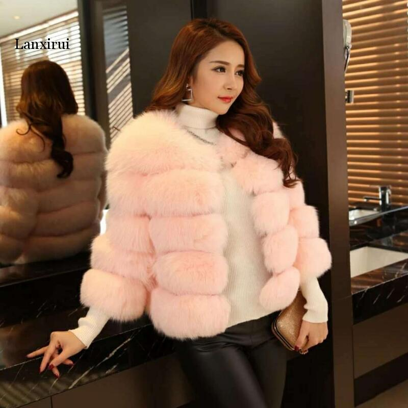 Winter New Fashion Fur Jacket Women Slim Short Faux Fur Coat Elegant Thick Warm Outerwear Hot Sale Plus Size S-3XL