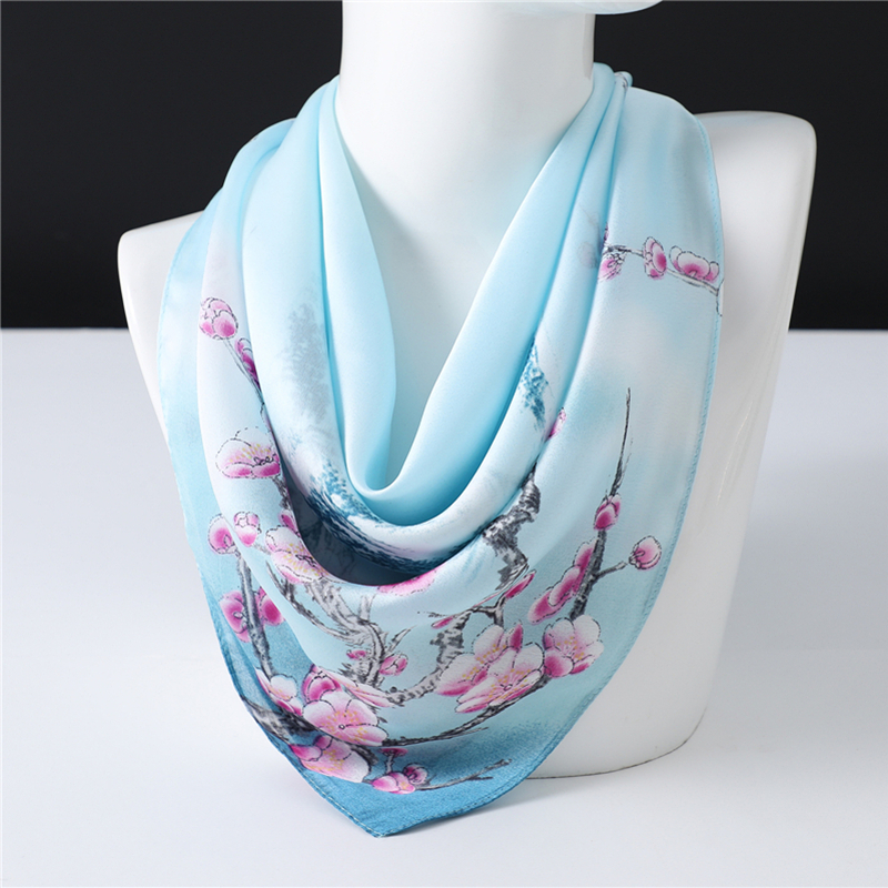 Silk Scarf Women 2020 Spring New Neck Scarf Elegant Plum Blossom Pattern Lady Bag Ribbon High Quality Kerchief Femme Shawl Wrap