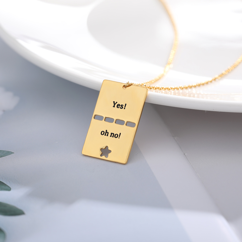Gold Silver Engraved Text Necklaces Pendants Chain Choker Necklace Women Men Jewelry Accesorios Collares Mujer Bridesmaid Gifts
