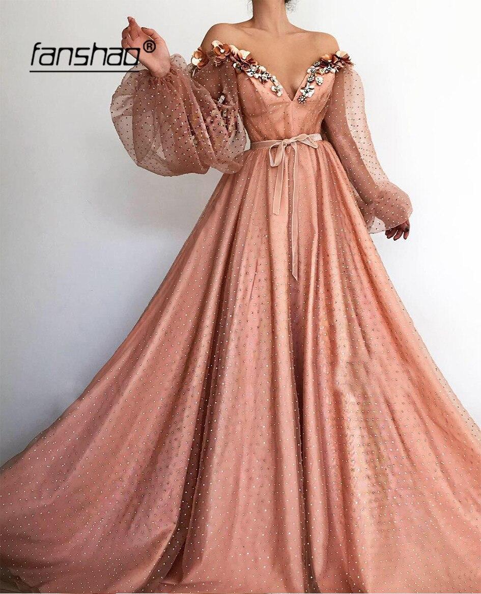 Vestidos de Noche naranjas, musulmanes, de hombros descubiertos, mangas largas, farol islámico de Dubái, Arabia Saudita, vestido Formal nocturno, vestido de Graduación Vestido de fiesta para niña con flores de fantasía, vestidos de niña de manga larga de mariposa y malla rosa, vestidos de comunión para niños de 1 a 14 años, 2018