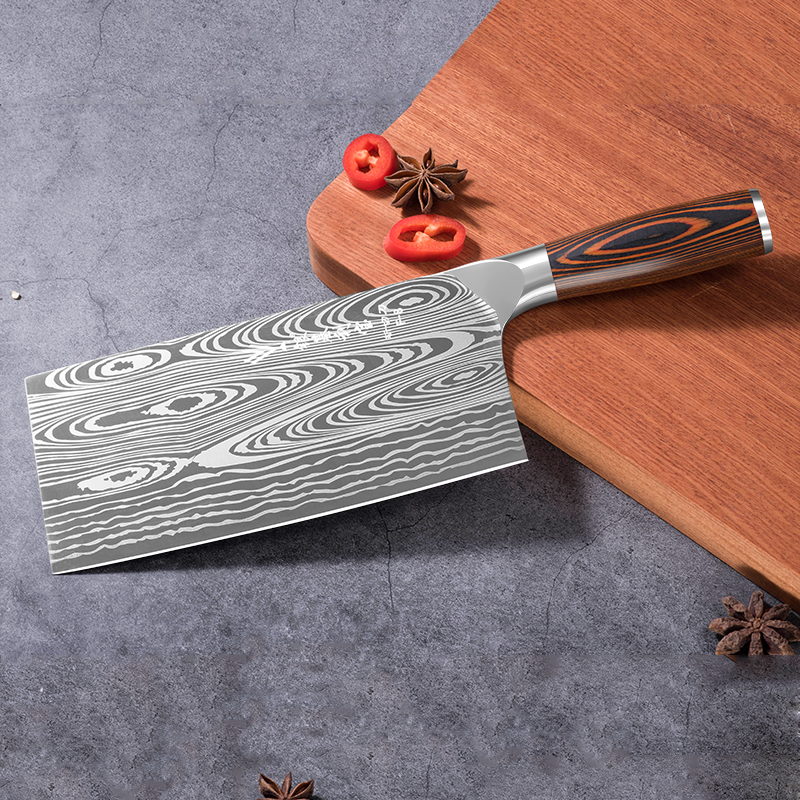 Deng knife High-grade handmade forged blade carbon steel kitchen knife Chinese chef knife vegetable cleaver kitchen Colour wood 3