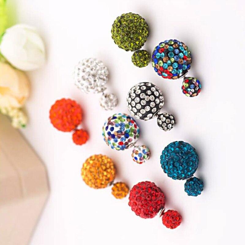 Fashion New Double-Sided Earrings Size Pearl Candy Earrings Shambhala Rhinestone Earrings Female Earring Gift(China)