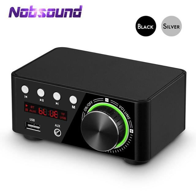 Nobsound Mini Bluetooth 5.0 Power Amplifier Receiver Stereo 2 Ch Home Audio Car Amp USB U disk Music Player With 19V Adapter