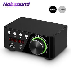 Image 1 - Nobsound Mini Bluetooth 5.0 güç amplifikatörü alıcısı Stereo 2 Ch ev ses araba Amp USB U disk müzik çalar 19V adaptörü