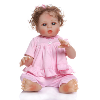 New Reborn Baby Doll Toys For Children Full Silicone Baby Doll Bathing Toys For Girls Pink Clothes About 46cm