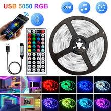 5V Bluetooth 5M-30M 5050 USB listwy Led światła wodoodporna dioda Led RGB lampa wstążkowa do dekoracji Party sypialnia podświetlenie TV