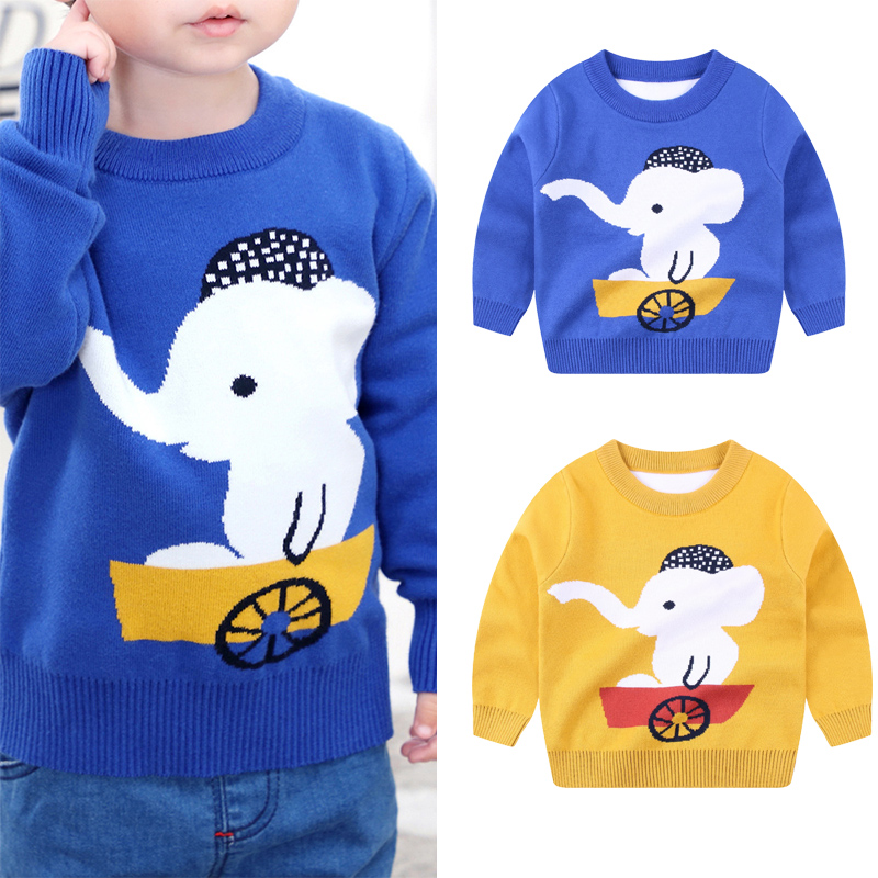 4-8 Years Boys Sweaters Baby Boy Clothes Crew neck Autumn Winter Long Sleeve Casual Warm Baby Sweater Elephant Print D30