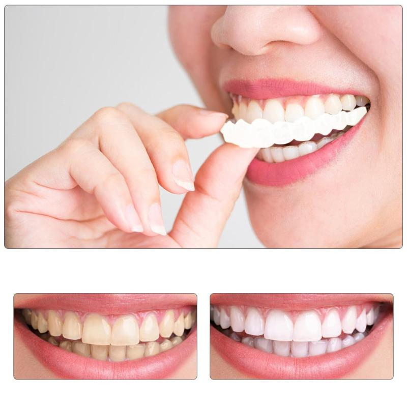 1pair Comfortable Natural Cosmetic Fake Tooth Cover Snap On Silicone Perfect Smile Veneers Teeth Upper Beauty Tool Teeth