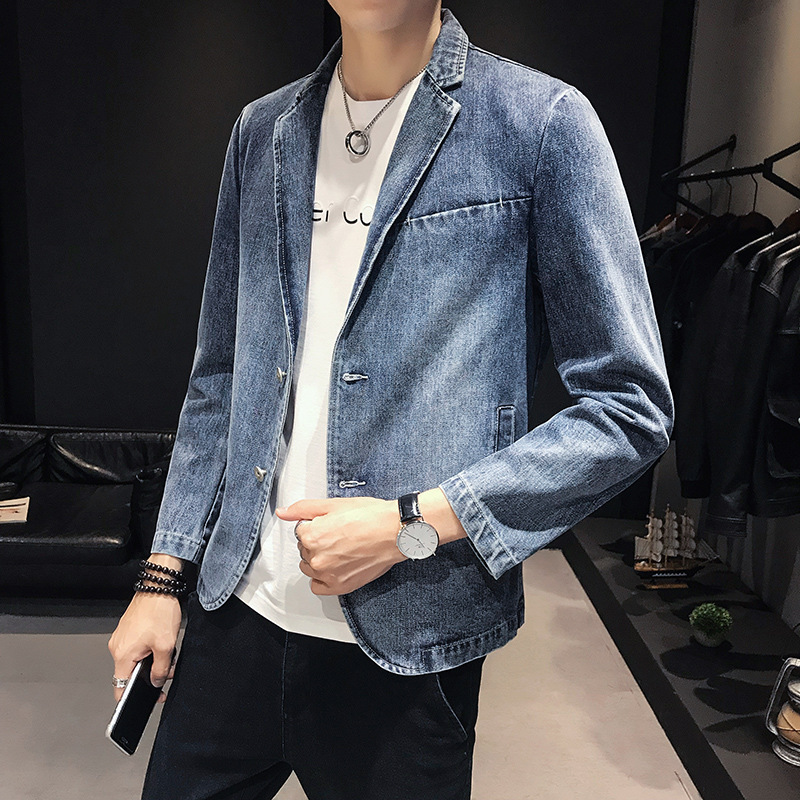2020 Autumn Outfit New Men Leisure Cultivate One's Morality Cowboy Blazer Youth Fashionable Gradient Denim Blasers