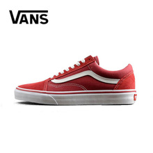 Authentic Vans Old Skool Men Canvas Sneakers Red Black Comfortable Outdoor Women Skateboarding Shoes Size 36-44