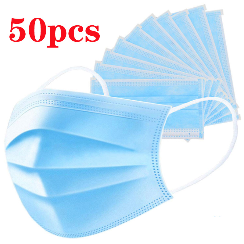 3-layer Face Mask 50pcs Face Mask Non-woven Disposable