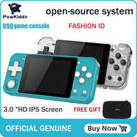 POWKIDDY Q90 3-inch IPS screen Handheld console dual open system game console 16 simulators retro PS1 kids gift 3D new games