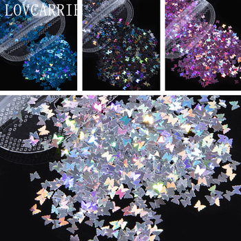 LOVCARRIE 3D Butterfly Nail Art Glitter Sequins Flakes Holographic Gold Supplies Paillette Sticker for Decorations