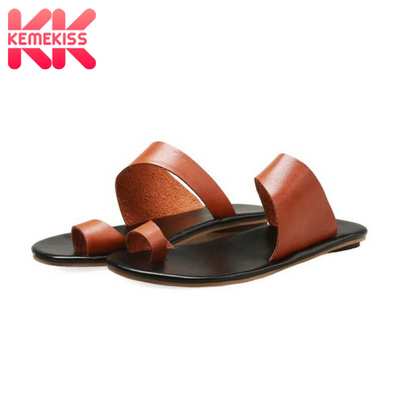 KemeKiss Plus Size 33-48 Women Sandals Shoes Fashion Summer Slippers Shoes Women Solid Color Flat Round Toe Ladies' Footwear