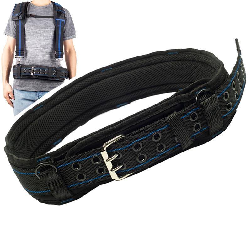 Men's Heavy Work Belt Multi-Function Hangable Mitigate Weight Tooling Belts For Toolkit Breathable Lumbar Pad Buckle Belt Men