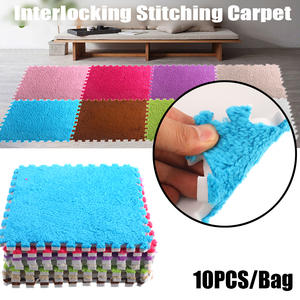 10 Pcs/Bag 30*30cm EVA Foam DIY Puzzle Mat Stitching Carpet Villi Shaggy Carpet Mat Plush Soft Area Rug Children Baby Playmat(China)