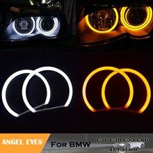 цена на Car styling no error Dual color white yellow cotton light angel eyes headlight kits for BMW E36 E38 E39 E46 M3 auto lamp 4x131mm