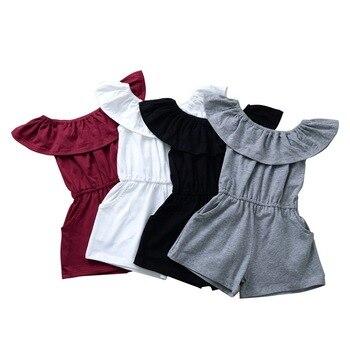 Niños bebés niñas fly sleeve ruched conjuntos sólidos monos para niños pequeños monos de algodón casual sunsuits girl clothing 6M-3Y