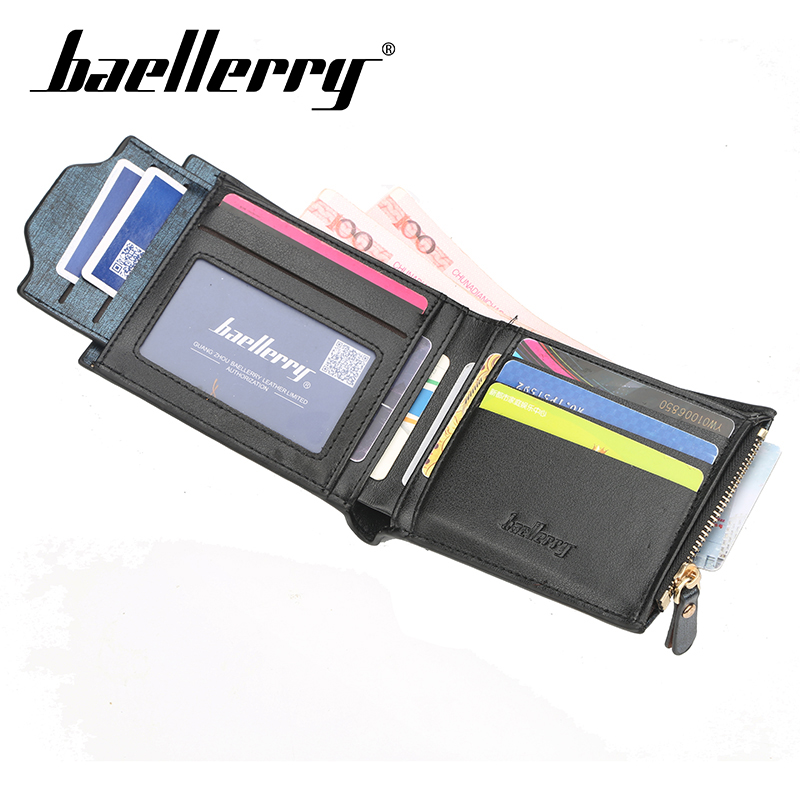 Baellerry Wallet Men Casual Solid Wallet PU Leather Clip Porta Hand Bag Card Holder Zipper Coin Pocket Note Compartment Wallet in Wallets from Luggage Bags