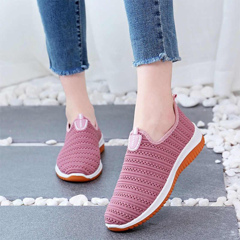 MCCKLE Frühling Frau Vulkanisierte Schuhe Frauen Turnschuhe Slip Auf Stricken Mesh Damen Angenehm Weiche Weibliche Casual Walking Schuhe